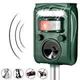 Wikoo Ultrasonic Animal Repeller, Solar Powered Pest Repeller, Waterproof Outdoor Repellent with Motion Activated PIR Sensor, Repel Dogs, Cats, Squirrels and more (Green)