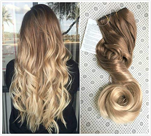 20 Inches 3/4 Full Head One Piece Ombre Dip Dyed Loose Curls Wavy Curly Clip-in Hair Extensions (light brown to sandy blonde) DL by DevaLook Hair Extensions