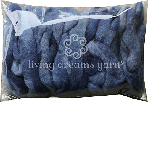 Wool Roving Hand Dyed. Super Soft BFL Combed Top Pre-Drafted for Easy Hand Spinning. Artisanal Craft Fiber ideal for Felting, Weaving, Wall Hangings and Embellishments. 1 Ounce. Gun Metal