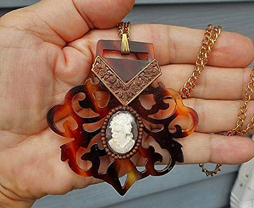 (Antique Faux Tortoise Shell Cameo Hand Carved Filigree Celluloid Buckle w/Hand Carved Shell Flowered Ruffled Cameo w/Brass Repousse Necklace)