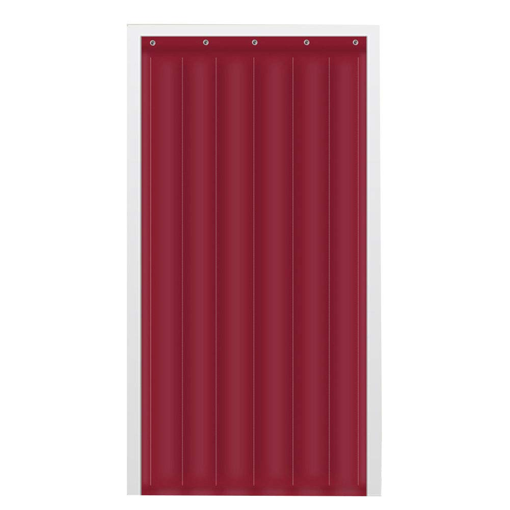 GUOWEI-Door Curtain Insulation Thermal Windproof Panel Entrance Customizable, 3 Colors, 23 Sizes (Color : Wine red, Size : 90x210cm)