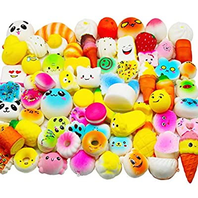Huastyle 20pcs Squishies Toys Random Jumbo Medium Mini Slow Rising Kawaii Squishy Cake/Panda/Bread/Buns Phone Straps for Treasure Box Prizes Classroom: Toys & Games