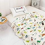 YOHA Kids Summer Comforter Thin Quilt Throw Blanket Boys Girls Cute Cartoon Quilt Cotton Soft Kids Room Bedding Quilt Coverlet(Dinosaur,Toddler 47''x59'')
