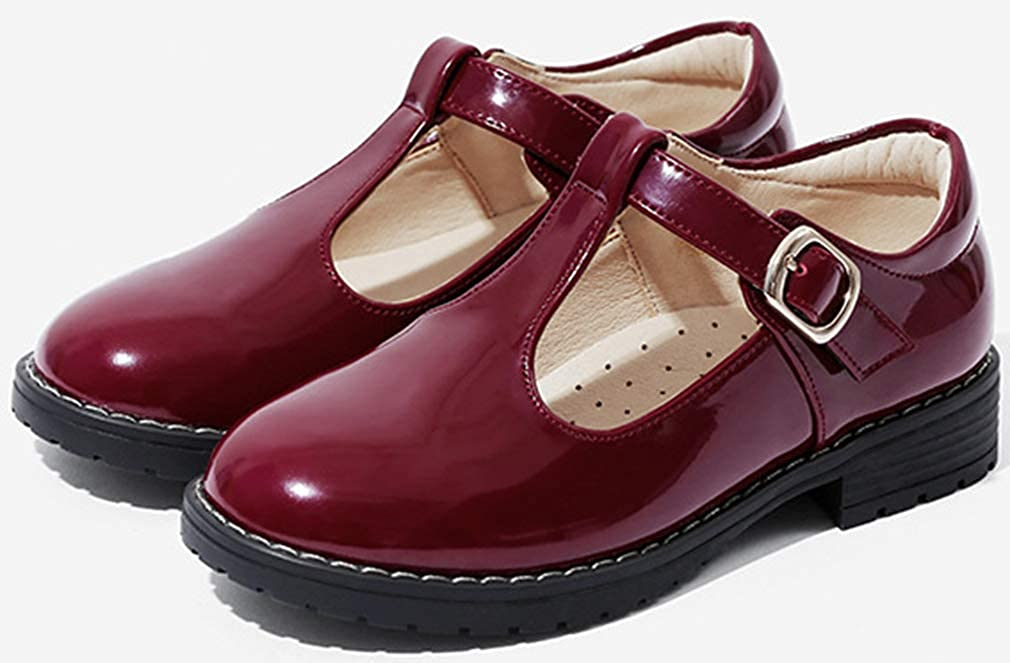 VECJUNIA Girls Classic Mary Jane Flats Nonslip T-Strap Hook and Loop School Uniform