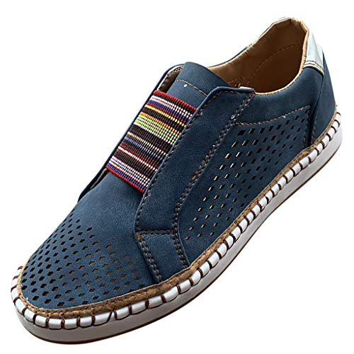 (JUSTWIN Women's Round Head Large Size Hollow Shoes Summer Hollow Flat Running Shoes Summer Beach Shoes Blue)