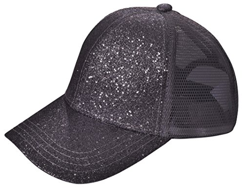 Beurlike Ponytail Baseball Cap Hat Messy High Bun Adjustable Mesh Trucker Plain Ponycap Visor Cap Dad Hat (Glitter Black)