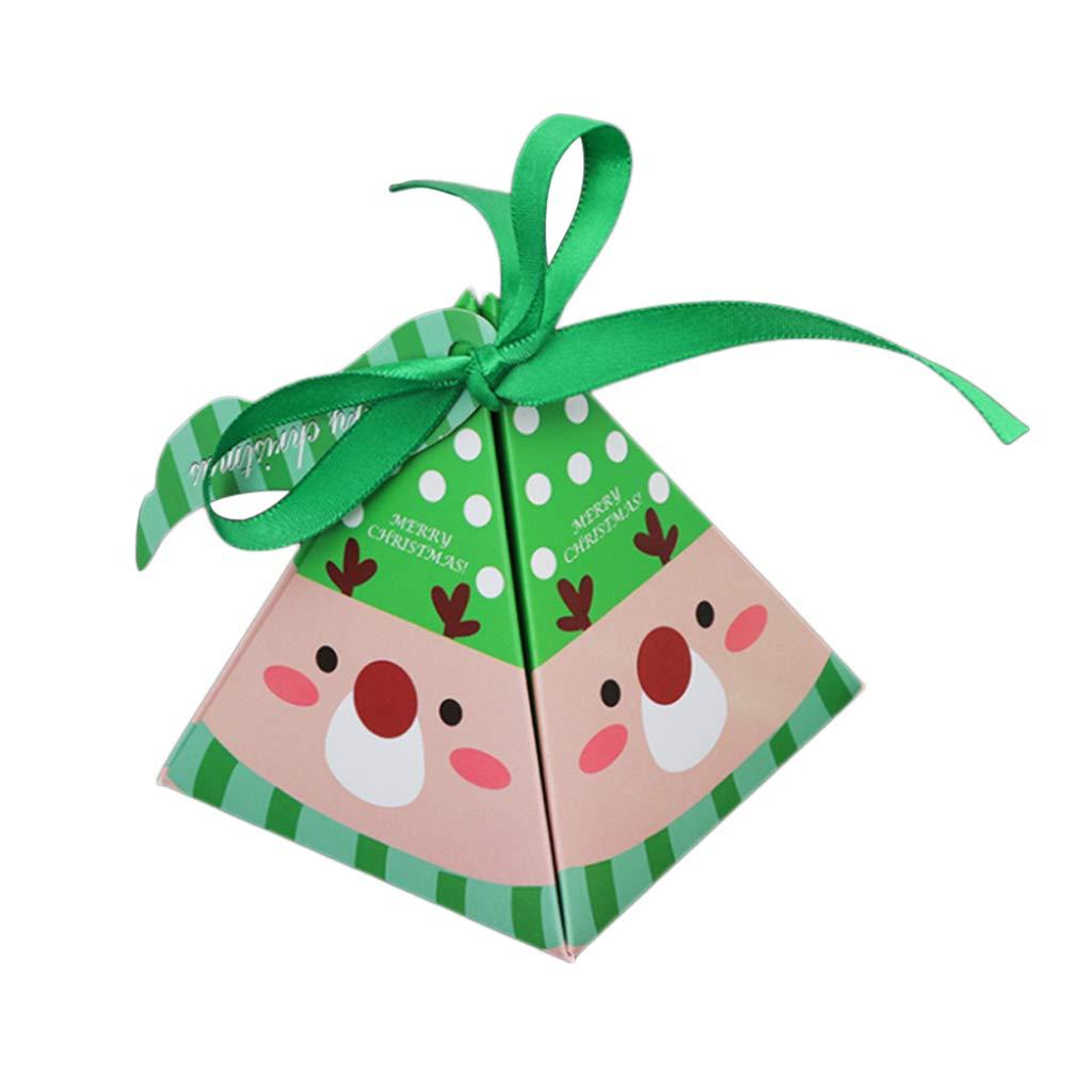 Guoyy 1 Pc Papier D/écoration De No/ël Cadeau Bo/îte De Bonbons Emballage Sac Conteneur avec Ruban /À Lacets danniversaire De Mariage F/ête Fournitures 01#