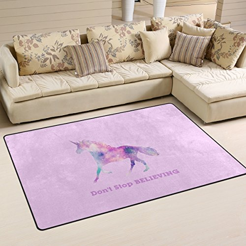 ZOEO Non-slip Area Rugs Home Decor, Stylish Cute Pink Bling Unicorn Floor Mat Living Room Bedroom Carpets Doormats 31 x 20 inches