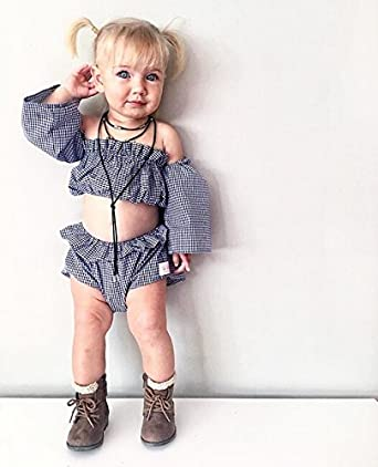 Shorts Pants 2Pcs Listogether Summer Infant Baby Girls Cute Ruffle Off-Shoulder Vest Tank Top