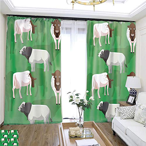 Super Sliding Curve - Custom Curtain Cow Milking Shorthorn Cartoon Seamless Wallpaper W72 x L78 Sliding Door Insulation Super Wide Curtain Highprecision Curtains for bedrooms Living Rooms Kitchens etc.