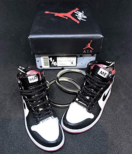 Pair Air Jordan 1 I High Retro NRG Not For Resale Red OG Sneakers Shoes 3D Keychain Figure with Shoe Box