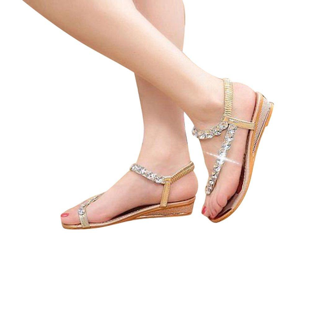 Creazy Woman Summer Sandals Rhinestone Flats Platform Wedges Shoes Flip Flops B01G839VFC 5.5 B(M) US|Gold