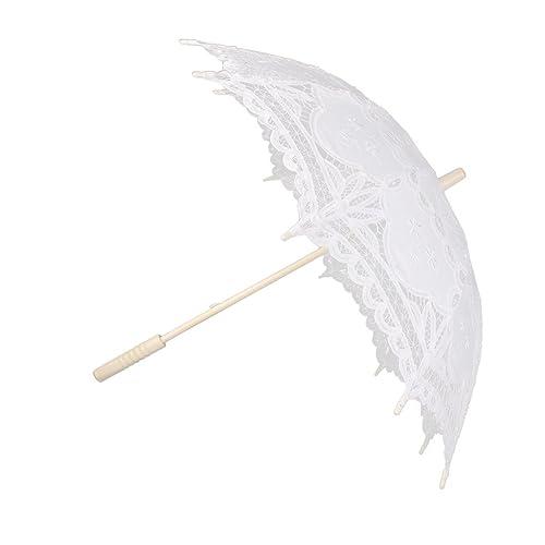adecuado para hombres/mujeres disfruta del mejor precio código promocional Sombrillas De Encaje De Algod¨®n Hechos A Mano Paraguas Partido De La Boda  De Novia Blanco Vestido De Fiesta
