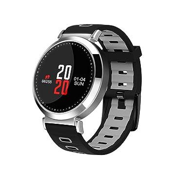 Reloj Inteligente Impermeable, Pantalla De Color Tensiómetro Monitor De Ritmo Cardíaco Actividad Seguimiento Smart Band Azul para Android, iOS Smartphone,E: ...