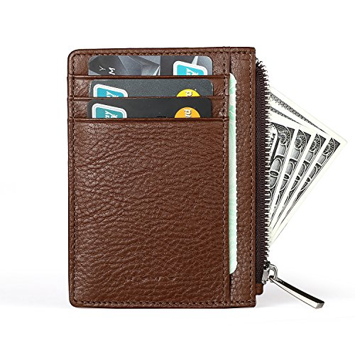MEKU Mens Slim Leather Front Pocket Wallet Credit Card Holder Minimalist Thin Card Cover Case 8 Card Slots Coffee Xmas Gifts