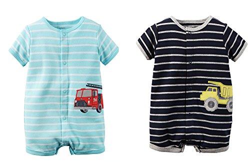 [Carter's Baby Boy Romper 2 Pack Bundle Gift Set (3 Months, Blue)] (Dump Truck Short)