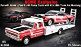 1968 Ford F-350 Ramp Truck with Parnelli Jones' #15 1969 Ford Mustang Boss 302 Trans Am 1/64 Diecast Model Cars Acme Exclusive by Greenlight 51149