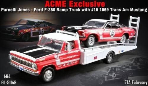 1968 Ford F-350 Ramp Truck with Parnelli Jones' #15 1969 Ford Mustang Boss 302 Trans Am 1/64 Diecast Model Cars Acme Exclusive by Greenlight 51149 - 1969 Ford Mustang Boss 302