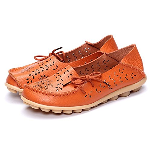 amp;HS Lace Soft Hollow Size Big Flat Shoes Up Out Orange Leather Violet Breathable R6wAdCAq