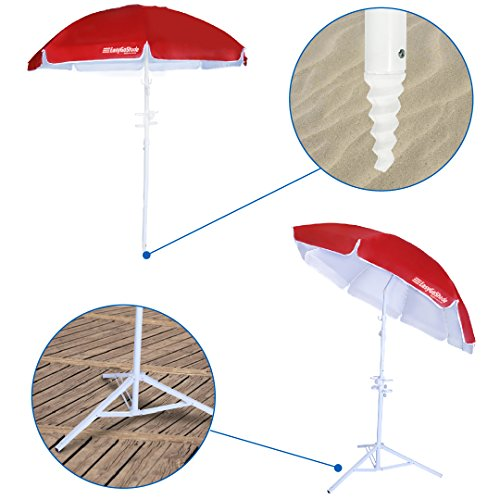 5.5' EasyGoShade8482; Red Portable Sun Shade Umbrella with Tripod Base, Beach Stake and Tilt Feature. Great for S (Patio Umbrella Base Replacement Parts)