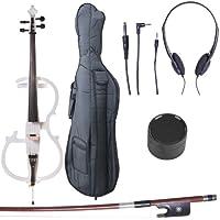Cecilio CECO-2WH Ebony Fitted Silent Electric Cello, Style 2, Metallic White, 4/4 (Full Size)