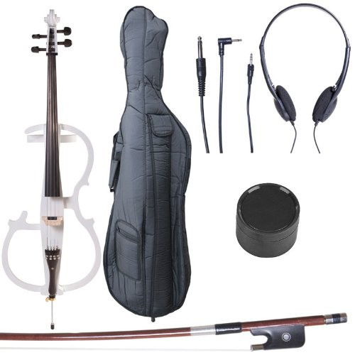 Cecilio 4/4 CECO-2BK Black Metallic Electric Cello with Ebony Fittings in Style 2 (Full Size) Cecilio Musical Instruments 4/4CECO-2BK