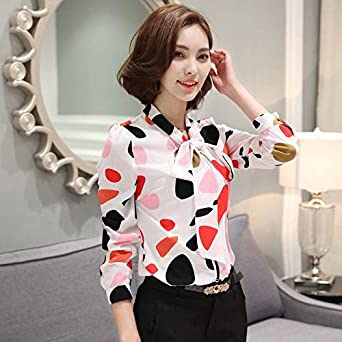 e25c85fab44 Image Unavailable. Image not available for. Color  szchuangmeite Fashion  Women Cute Bow Printed Chiffon Shirt Female Korean Long Sleeved Blouses