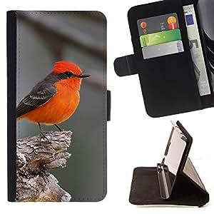 - Queen Pattern FOR Samsung Galaxy S4 Mini i9190 /La identificaci????n del cr????dito ranuras para tarjetas tir????n de la caja Cartera de cuero cubie - red bird songbird grey cut