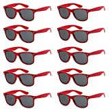 WHOLESALE UNISEX 80'S STYLE RETRO BULK LOT SUNGLASSES (Cardinal Red, Smoke)