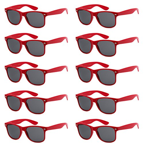 WHOLESALE UNISEX 80'S STYLE RETRO BULK LOT SUNGLASSES (Cardinal Red, ()