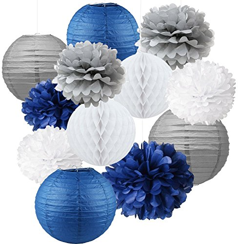 12pcs Mixed Navy Blue Gray White Party Tissue Pom poms Flower Hanging Paper Lantern Honeycomb Balls Nautical Themed Vintage Wedding Birthday Baby Shower Nursery Decoration