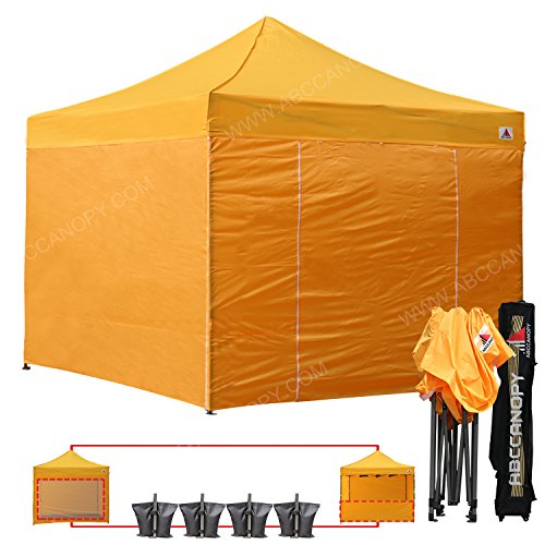 AbcCanopy Commercial 10x10 Ez Pop up Canopy, Party Tent, Fair Gazebo with 6 Zipped End Sidewalls and Roller Bag Bonus 4x Weight Bag (gold)