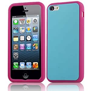 HELPYOU Hot Pink/Blue iPhone 5C New Fashion Colorful Soft Silicone Rubber Case Protective Cover for Apple iPhone 5C