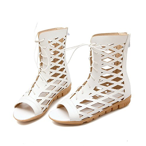 Amoonyfashion Donna Open Toe Tacchi Bassi Sandali Con Cerniera In Materiale Solido Bianco