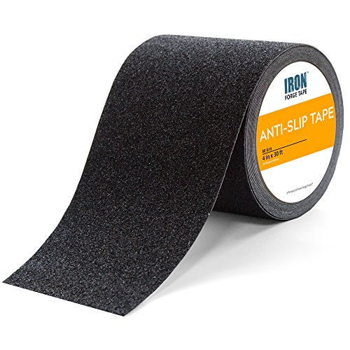 Black Anti Slip Tape - 4 inch x 30 Foot, 80 Grit Non Slip Grip Tape by Iron Forge Tools
