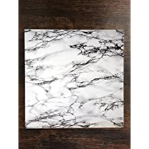 "White Marble Design One Piece Premium Ceramic Tile Coaster 4.25""x4.25"" Square Drink Protection for Coffee Tables by MWCustoms"