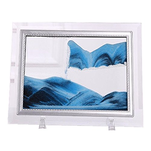Yuanlar Deep Sea Moving Sand Art Picture Sandscapes in Motion Office Desktop Art Decor Toys (Blue, 7''x8.7'') ()
