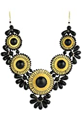 ZAD Beautiful XX-Large Gold Metal Glass Bead Medallion Bib Necklace