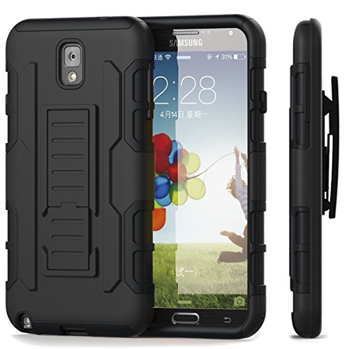 Galaxy Note 3 Case - Pasonomi® Rugged Hybrid Armor Heavy Duty Hard Holster Case Cover with Kickstand for Samsung Galaxy Note 3 Note III N9000 Black