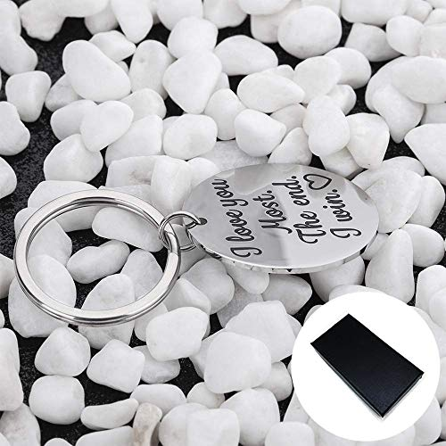 AXEN Key Chain Gift, I Love You Most The End I Win, Stainless Steel Keyring for Couple, Style 4