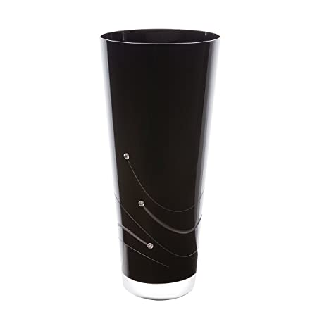 Dartington Crystal Noir Medium Conical Vase Black 15 X 15 X 30 Cm
