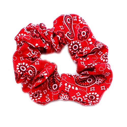 RingBuu Hair Rope - Women Girls Ruched Pleated Large Intestine Hair Rope Bohemian Ethnic Retro Paisley Floral Printed Ponytail Holder Bandanna Scrunchies 6 Colors (Red)