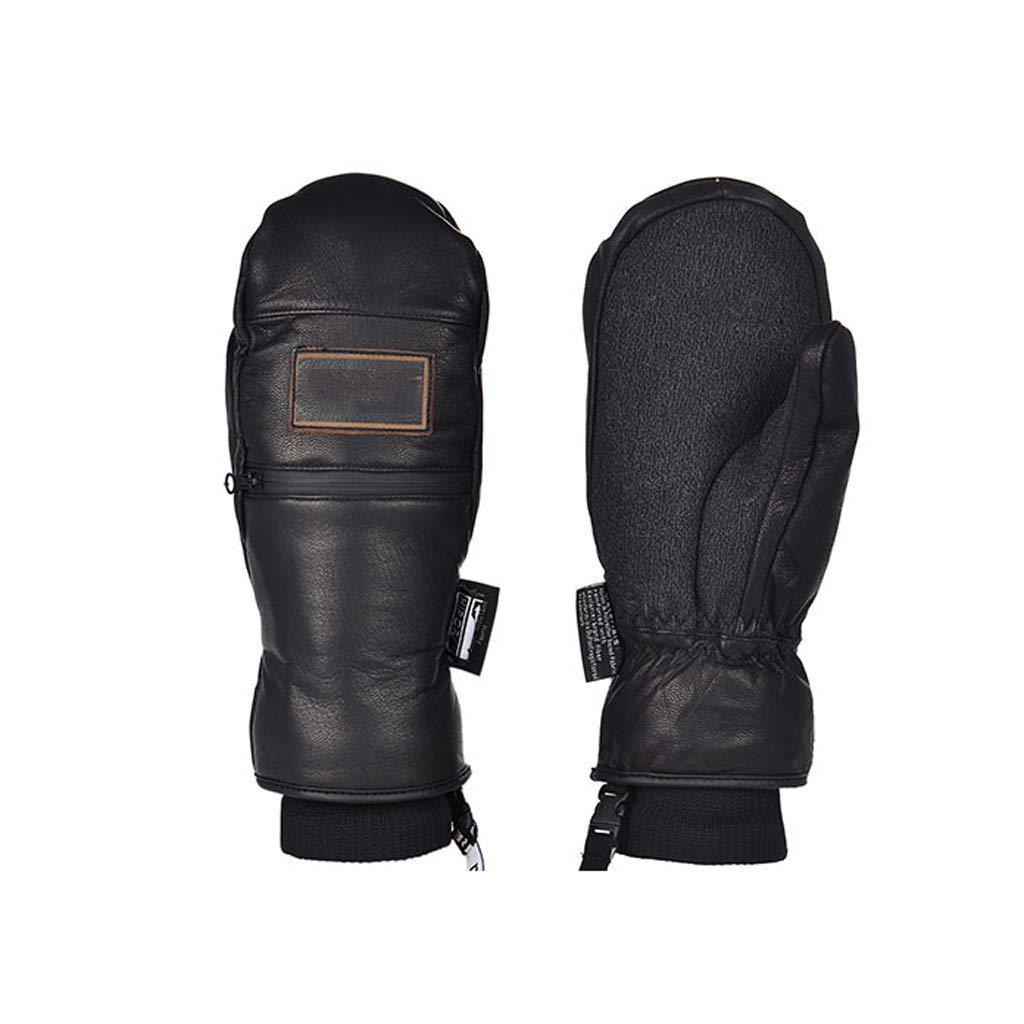 AZBYC Ski - Handschuhe Für Männer Und Frauen, Im Winter Warme Handschuhe, Finger, Echtes Leder, Reißverschluss - Taschen, Die Snowboard - Handschuhe.