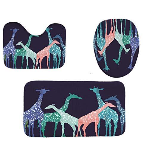 Toilet mats Set Fiaya 3Pcs /4PCS Animal Multicolor Polyester Bathroom Set Rug Contour Mat+Toilet Lid Cover +Plan Solid Color Bath Mats +Shower Curtain (3PCS, Multicolor Giraffe)
