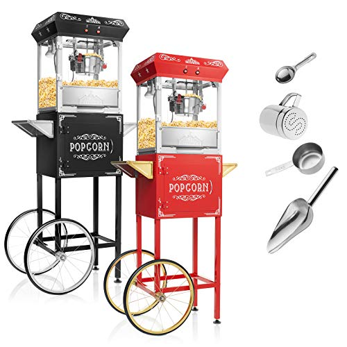 - Olde Midway Vintage Style Popcorn Machine Maker Popper with Cart and 6-Ounce Kettle - Red
