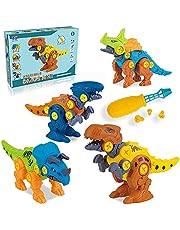 Coriver dinozaur zabawki ze śrubokrętem i torbą do przechowywania, weź figurki dinozaura zestawy modelowe DIY konstrukcja zestaw STEM nauka edukacyjna zabawka z tyranozaurem rex, Velociraptor, trikaratops