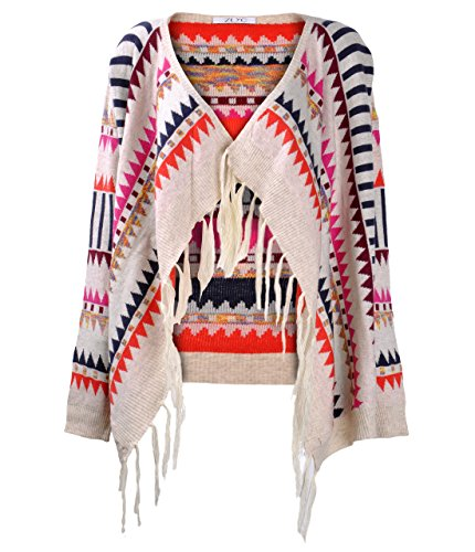 ZLYC Women Vintage Fashion Aztec Print Open Front Knitted Cardigan Sweater Poncho Blanket Wrap Cloak(Beige)