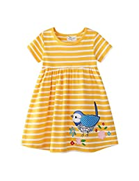Baby Girl Cotton Round Neck Short Sleeve Stripe Lattice Dress