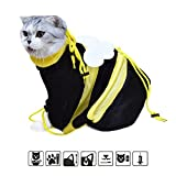 Yarti Cat Grooming Bag Cat Restraint Adjustable Bag Washing Shower Mesh Bag Biting Scratching Resisted for Bathing Injecting Nail Trimming Ear Cleaning (Black)