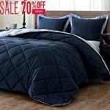 King Comforter Sets Lightweight Solid Comforter Set (King) with 2 Pillow Shams - 3-Piece Set - Blue and Sapphire - Hypoallergenic Down Alternative Reversible Comforter by downluxe